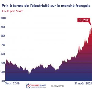 Courbe des prix de l'électricité en France